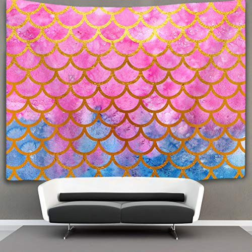 BOYOKO ME Mermaid Watercolor Gold Pink Fish Scales Wall Tapestry Hippie Art Tapestry Wall Hanging Home Decor Extra Large tablecloths 60x70 inches for Bedroom Living Room Dorm Room