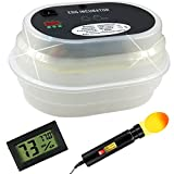 Yaufey Fully Automatic 9~12 Mini Digital Eggs Incubators Chick & Poultry Hatch with Egg Turner & Bright Cool LED Light Egg Candler Tester & Humidity Gauge Thermometer