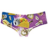 TUONROAD 3D Personalized Animal Prints Womens Pretty Popular Funny Naughty Taco Cat Pussycat Underwears Panty Pretty Beathable Moisture Wicking Lingerie Briefs Size S