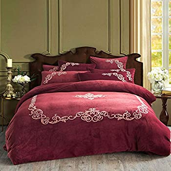Image of Home and Kitchen Thick Flannel Bedding Set Embroidery, Soft Breathable Duvet Cover Zipper Ties American Comforter Cover Double Bed Winter-red M