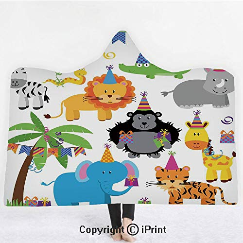 Birthday Decorations for Kids 3D Print Soft Hooded Blanket Adult Premium Throw Blanket,Lightweight Microfiber,Jungle Wild Animals in Cartoon Pattern Party Hats Flags Image,All Season for Adult(60