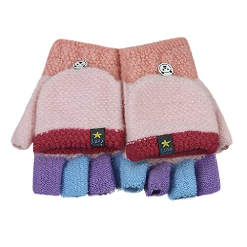 Convertible Flip Top Gloves,Winter Warm Thick Knit Fingerless Gloves with Mitten Cover for Toddler Kids Girls Boys Child 5-10 Years