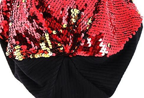 Yaslnn Girls Ladies Sequin Knitted Hat Fashion Casual Cap