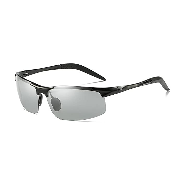 1cee62f452 MINCL/Polarized Photochromic Lens Sunglasses Driving Cycling Semi Frame  Photosensitive Eyewear for Men (black