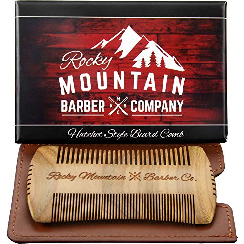 Beard Comb - Sandalwood Natural Hatchet Style for Hair - Anti-Static & No Snag, Handmade Wide & Fine Tooth Contour Brush Best for Beard & Moustache with Carrying Case Pouch ()