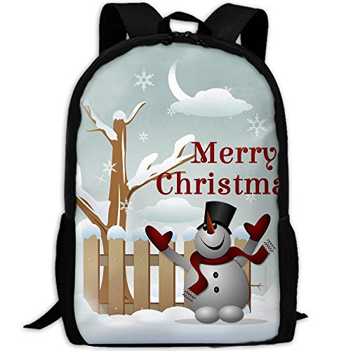 Markui Adult Travel Hiking Laptop Backpack Snowman Picture School Multipurpose Durable Daypacks Zipper Bags Fashion