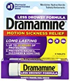 Dramamine Motion Sickness Relief Less Drowsey Formula, 8 Count (Pack of 48)