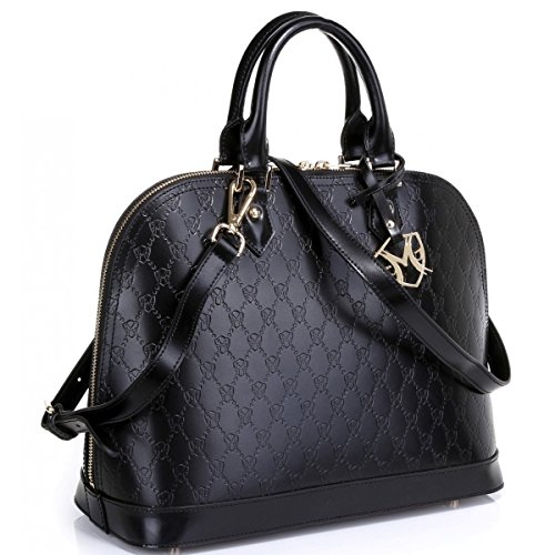 The Isabelle Tote in Black with Embossed Signature by Greg Michaels
