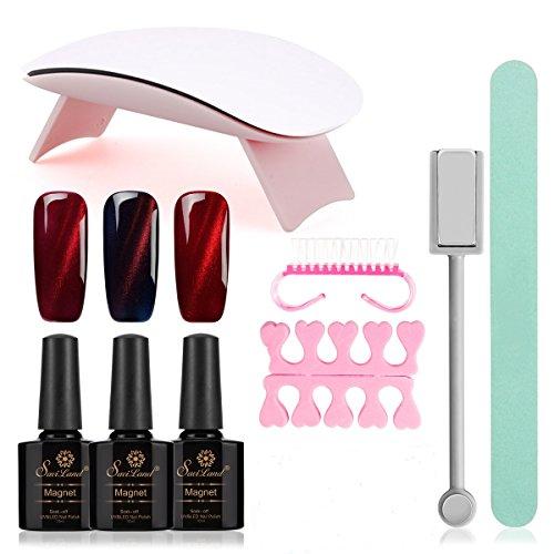 Saviland Gel Polish Kit, 3 Colors Cat Eye Nail Gel with 6W U