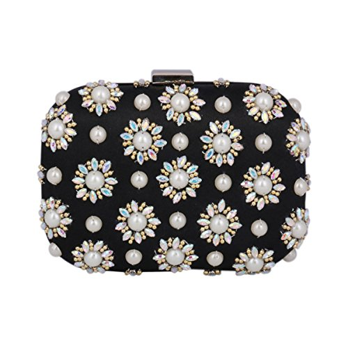 Hardcase Evening Bag Medium Women's Clutch Sunflower Pattern Damara Adorn Black Oqxavwgq