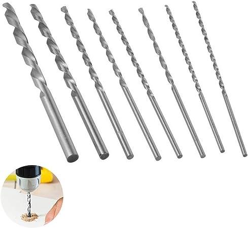 fabrication de trous//outil rotatif pour le travail du bois 8 pcs Extra Long Drill Bits Set forets h/élico/ïdaux HSS Petit foret manuel pour artisanat//mod/élisation