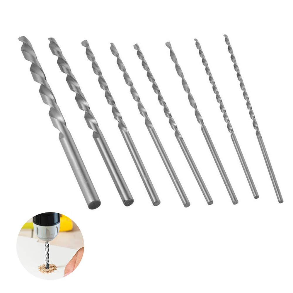 8 pcs Extra Long Drill Bits Set HSS Twist Drill Bits Small Hand Drill for Craft/Modeling/Making Holes/Jewelry Woodworking Rotary Tool ASUN