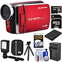 Bell & Howell DV30HD 1080p HD Video Camera Camcorder (Red) with 32GB Card + Battery & Charger + Case + Tripod + Video Light Kit