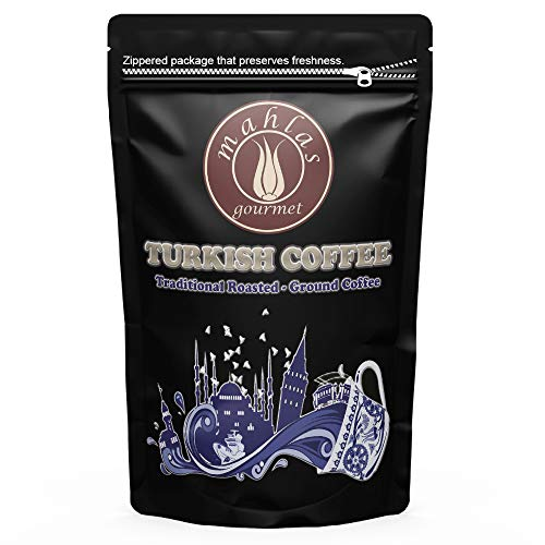 - Mahlas Gourmet Turkish Coffee - Premium Quality - Traditional Roasted and Ground Coffee - Ground At Natural Stone Mills - Produced From Fresh Harvest Green Coffee Beans (8.8 OZ (250 g))