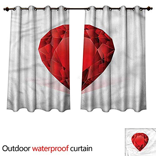 cobeDecor Diamonds Outdoor Ultraviolet Protective Curtains Pear Shaped Rhinestone W120 x L72(305cm x 183cm)