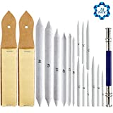SOTOGO 15 Pieces Blending Stumps And Tortillions Set With 2 Pieces Sandpaper Pencil Sharpener And One Pencil Extension Tool For Student Sketch Drawing