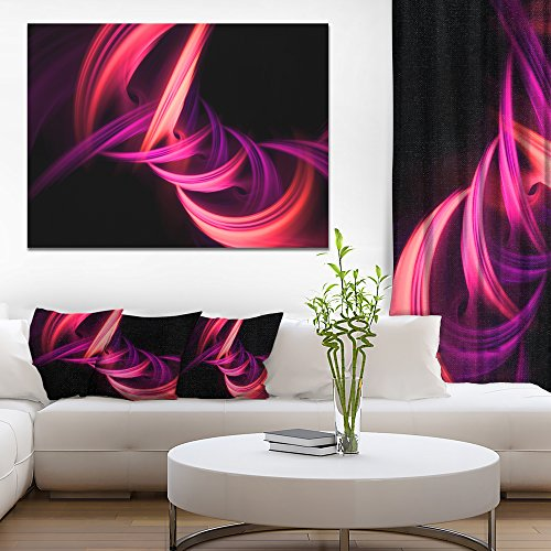 Designart Fractal Purple Connected Stripes Abstract Art Canvas Print