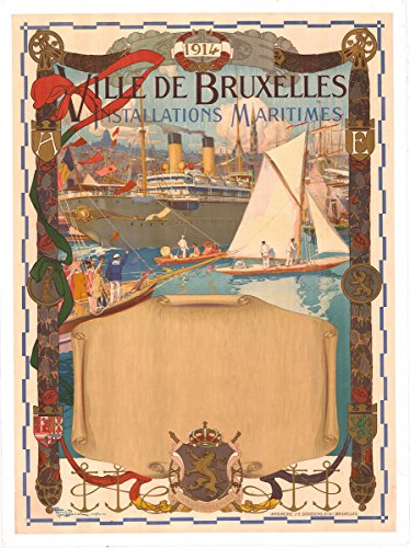historic pictoric Brussels Haven Installations Maritimes Fernand Toussaint 1914 | 24in x 18in Vintage Belgian Poster Print -