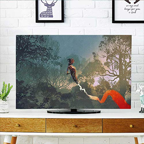- Auraisehome Cord Cover for Wall Mounted tv House Decor Cyclist Riding Bike with Track in Air Foggy Park Artsy Extreme Cover Mounted tv W30 x H50 INCH/TV 52