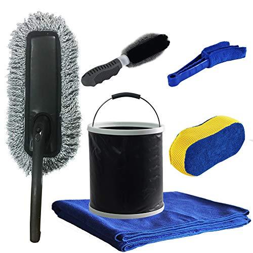 GLOYY Car Wash Brush Kit with Bucket Window Car Cleaning Folding Set-Tire Brush |Car Wash Sponge |...
