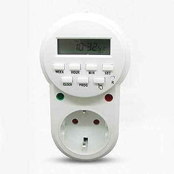 Timer Switch 24 H 7 jour numérique programmable Plug Affichage LCD min semaine