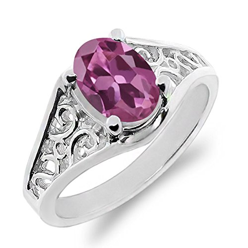 Gem Stone King 0.85 Ct Oval Pink Tourmaline 925 Sterling Silver Ring (Size 8)