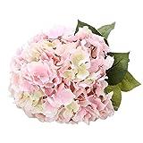 Houda Artificial Silk Hydrangea Bouquet Fake Flowers Arrangement Home Wedding Decor (Pink)