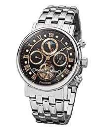 """Pionier - high quality automatic wrist watch Chicago """"Silver Black"""" stainless steel with stainless steel strap, two year warranty - 35 Jewels - Made in Germany"""
