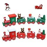 JAYSLE 2Pcs Christmas Wooden Train Kids Toys Birthday New Year Xmas Décor Festival Ornament Gift