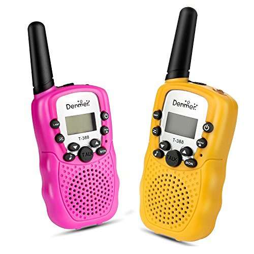 (Denmer Mini Walkie Talkies UHF462-467MHz 22 Channel FRS/GMRS Two-Way Radios 1 Pair- 2 Pcs ( Pack of 2, Pink & Yellow))
