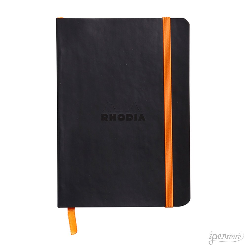 Rhodiarama Lined Notebook, 4X6 inch, Black