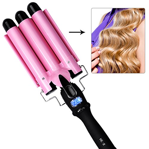 Hair Curling Iron Curling Wands Hair Curler Tourmaline Ceramic Hair Crimper Long Hair 3 Barrel Waver Instant Heat Hot Curler Deep Waver for Home/Travel/Salon Curlers with Temperature Control