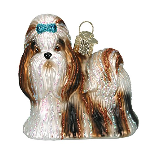 (Old World Christmas Ornaments: Shih Tzu Glass Blown Ornaments for Christmas Tree)