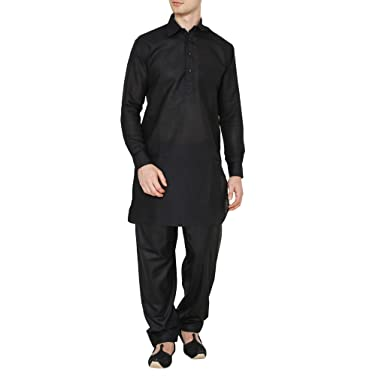 best service 35fe5 c4c46 Kurta uomo lino nero Royal Pathani Suit: Amazon.it ...