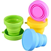 Silicone Collapsible Travel Cup - Food Grade Silicone & PP BPA Free Silicone Folding Camping Cup with Lids - Expandable…