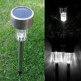 Garden Solar Power White LED Lamp Stainless Steel Waterproof Lawn Yard Light