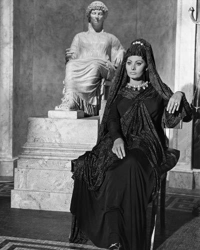 Sophia Loren regally seated in lace outfit head dress near statue 8x10 HD Aluminum Wall Art