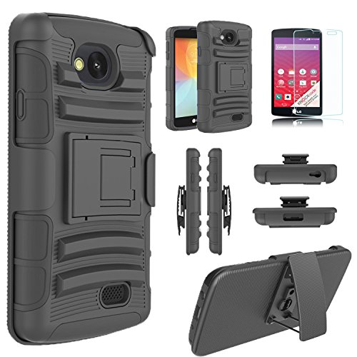 LG Transpyre Case, LG Tribute Case LS660, LG Optimus F60 Case, Starshop LG Transpyre, Tribute LS660 F60 Hybrid Full Protection High Impact Dual Layer Holster Case with Kickstand and Locking Belt Swivel Clip With Premium Screen Protector (Black)