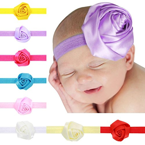 Baishitop 8PC Fashion Children Cloth Rose Flower Baby Girl Hairbands Hair Accessories