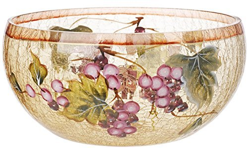 5th Avenue Collection Cracked Glass Candy/Potpourri Bowl - Grape - Centerpiece Grape
