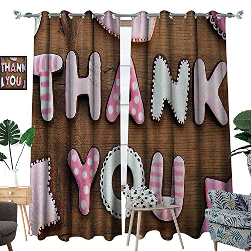 Thank You Room Darkening Wide Curtains Romantic Sweet Cookie Letters Sugar Candy on a Rustic Wood Table Image Decor Curtains by W84 x L108 Pink White Brown