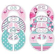 Mumsy Goose Nursery Closet Dividers, Closet Organizers, Baby Girl Clothes Sizers Pink Flamingo
