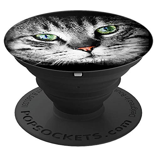 (Tabby Cat Face PopSocket Green Eyes Gray Grey Kitten Love - PopSockets Grip and Stand for Phones and)