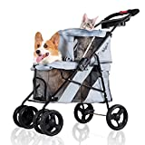 ibiyaya 4 Wheel Double Pet Stroller for Dogs and Cats - Great for Twin or Multiple pet Travel (Silver Grey)