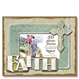 Highland Home Faith Love Hope 3D Wooden Picture Frame, holds one 4'' x 6'' photo