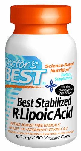 Meilleures 100 mg VCAPS R-lipoïque stabilisées de médecins, 60 ct