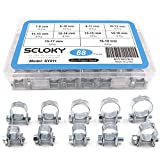 Seloky 84Pcs 10 Size Mini Fuel Injection Style Hose Clamp Assortment Kit for Diesel Petrol Pipe