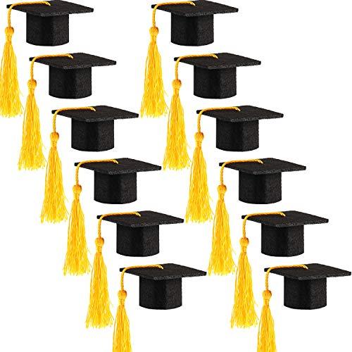 Hicarer 12 Pack Mini Graduation Caps Graduation Cap Bottle Toppers Bachelor Graduation Hat-Shaped Party Decorations Black (Yellow) -