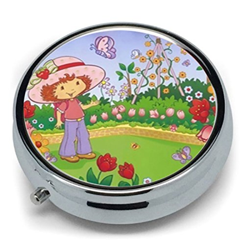 STRAWBERRY SHORTCAKE Unique Classic Round Stainless Steel Pill Box Medicine Tablet Organizer or Coin (Strawberry Shortcake Furniture)