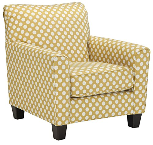 Benchcraft - Brindon Contemporary Accent Armchair - Yellow - CONTEMPORARY ARM CHAIR: Add a cheerful element to your living room with this boldly colored accent chair. Polka-dots have a fun, subtly retro feel and the soft curved armrests keep it modern PLUSH COMFORT: This chair is crafted with high-resiliency foam cushions wrapped in thick poly fiber, set over a sturdy corner-blocked frame. Made with cozy polyester upholstery POP OF COLOR: Designed in a beautiful yellow hue with white polka dots for a fresh bedroom, office or living room addition. Dark faux wooden exposed legs complete the look - living-room-furniture, living-room, accent-chairs - 51f3ipWQnAL -